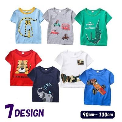 Tシャツ トップス 子供服 キッズ 男の子 女の子 半袖 ラウンドネック プリント アニマル 車 夏服 カジュアル ラフスタイル シンプル かわいい