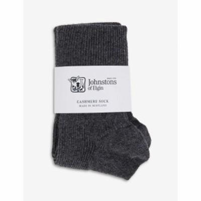 ジョンストンズ JOHNSTONS レディース ソックス インナー・下着 Ribbed cashmere-blend ankle socks Dark Granite