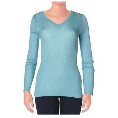 トップス ブラウス エリータハリ  Elie Tahari 9672 レディース ブルー シルク 長袖s ニット プルオーバーTop Shirt S