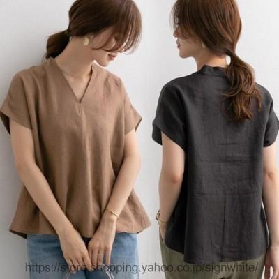 レディースTシャツ40代きれいめ上品春夏無地半袖Tシャツ快適リネントップス韓国風オシャレ体型カバーカジュアルTシャツ