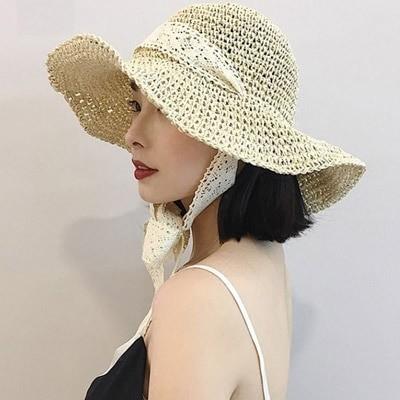 ANDSTYLE韓国ファッション/レース紐 ペーパーバケットハット/レースストラップ付きバケットハットで女性らしさアップ_236529