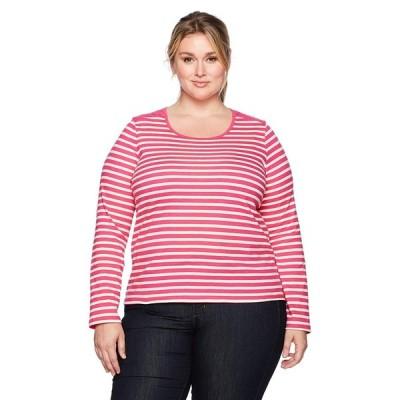 Caribbean Joe Women's Plus-Size Long Sleeve Scoop Neck Tee, pop Pink,