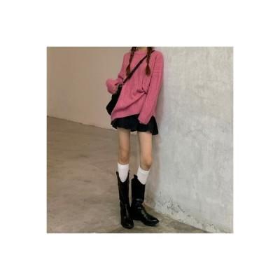 【送料無料】年 秋と冬 ルース オーバーサイズ 風 ツイスト ニットトップス 女性の長袖 ヘ | 346770_A63853-2180170