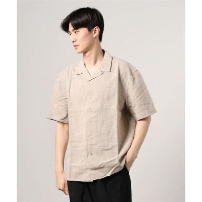 シャツ ブラウス 【BANANA REPUBLIC FACTORY STORE】リネンキャンプカラーシャツ