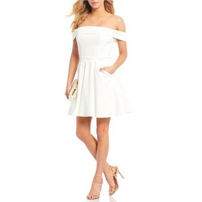 シティヴァイブ レディース ワンピース トップス Cuffed Off-the-Shoulder Fit and Flare Dress