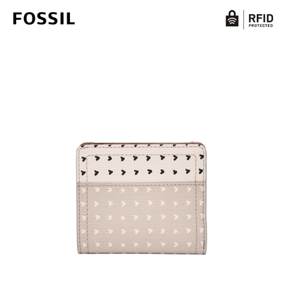 FOSSIL Logan RFID 迷你短夾-杏色愛心斑點 SL7826745