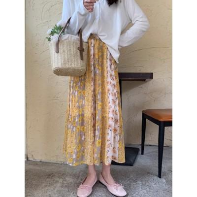 レディース ロング スカート 花柄 シフォン プリーツ