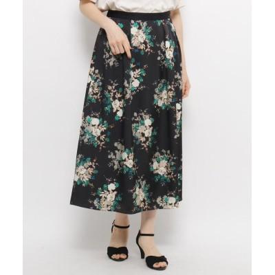 ORCHIDEA(オーキディア) フラワー柄ロングフレアスカート