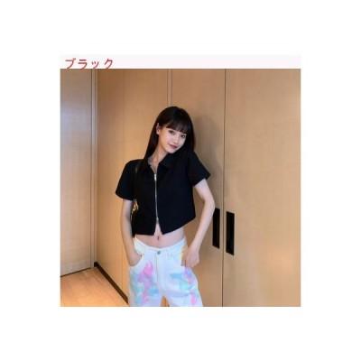 【送料無料】夏 薄いスタイル レトロ 半袖ニット シャツ 女 ファッション 足 開く ジッパ | 364331_A63262-8651950