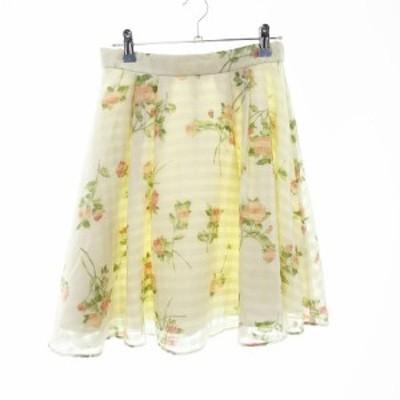 【中古】レッセパッセ LAISSE PASSE スカート フレア ひざ丈 花柄 38 白 ホワイト /MO レディース