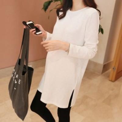 レディース ロング丈 Tシャツ ワンピース 長袖 ロングTシャツ スリット トップス ホワイト 白 M L XL サイズ 送料無料