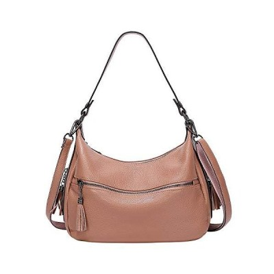 ALTOSY Womens Soft Genuine Leather Hobo Shoulder Bag Ladies Crossbody Tote Handbag with Tassel (A60601, Salmon) 並行輸入品