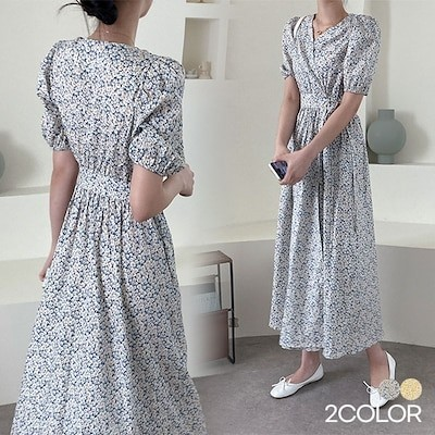 フラワーラップワンピース2色 / フェミニンなムード演出! 送料無料 韓国ファッション