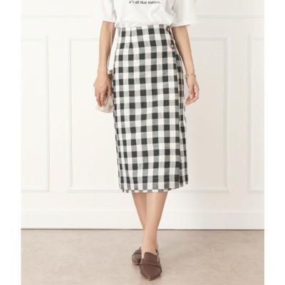 チル CHILLE ボタン付ブロックチェックタイトスカート (ブラック)