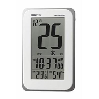 「配送無料」リズム(RHYTHM) 電波時計 目覚まし時計 電子音アラーム 温度 湿度 日めくり カレンダー 六曜 ライト付き 8RZ139SR03 12.8x8.
