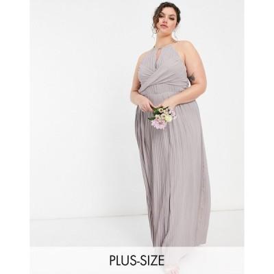 ティーエフエヌシー ドレス 大きいサイズ レディース TFNC Plus bridesmaid pleated wrap detail maxi dress in grey エイソス ASOS グレー 灰色