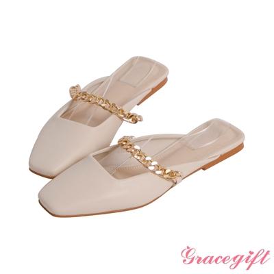 Grace gift-方頭鍊條平底穆勒鞋 米白