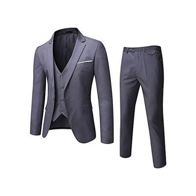 WULFUL メンズ スーツ スリムフィット ワンボタン 3ピース スーツ ブレザー ドレス ビジネス 結婚式 パーティー ジャケット ベスト&パンツ