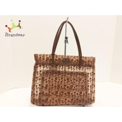 モスキーノ ハンドバッグ 美品 - ブラウン×ダークブラウン 花柄/メッシュ 化学繊維×合皮 新着 20200605
