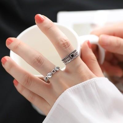 シルバー925 指輪 細工で精緻 シンプル 透かし ハート チェーン 開き口 個性 人差し指指輪 飾り物 qlyer29