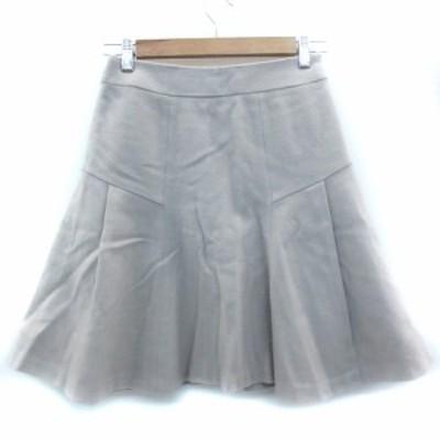 【中古】デミルクス ビームス Demi-Luxe BEAMS スカート フレア ひざ丈 無地 ウール 36 ライトグレー レディース