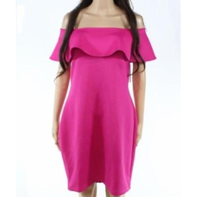 GUESS ゲス ファッション ドレス Guess NEW Pink Womens Size XL Scuba Off The Shoulder Ruffle Sheath Dress