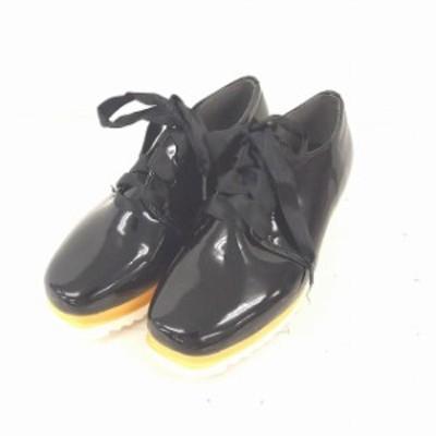 【中古】KOBE LETTUCE スニーカー シークレットシューズ 厚底 無地 シンプル S 黒 ブラック /TT38 レディース