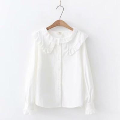新作 レディース 長袖 刺繍 シャツ Tシャツ ブラウズ 可愛い 女子高生 コーデ シャツ レディース お洒落 ホワイト 森ガール