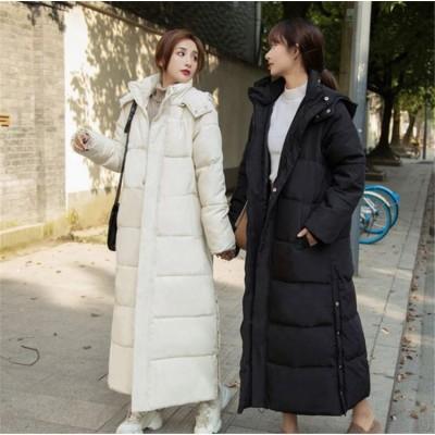 これからの季節に大活躍  INSスタイル 2020年新作 ダウンコート ジッパー 長袖 ファッション スタンドカラー エレガント 韓国版 ゆったりする 厚手 ロングセクション ニーハイ 綿の服