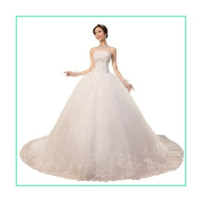 Dearta Women's Ball Gown Strapless Chapel Train Wedding Dress US 2 White並行輸入品