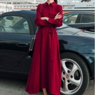 大きいサイズのレディースシャツワンピース Aライン ロングワンピース 無地 長袖 マキシワンピース ワンピース 秋冬 大人可愛い 韓国