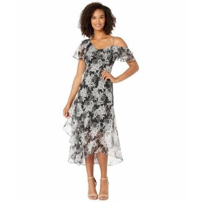 ヴィンスカムート ワンピース トップス レディース Sleeveless Asymmetrical Ruffled Boudoir Botanical Dress Rich Black