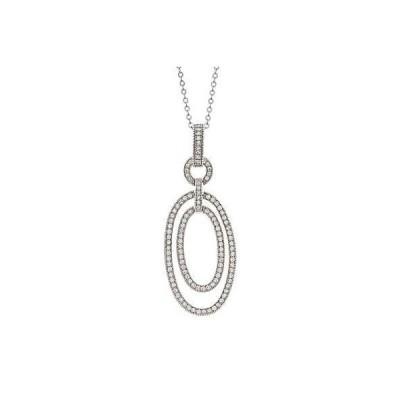 ラプレシオサ ネックレス La Preciosa Sterling Silver Cubic Zirconia Pave Double Oval Necklace