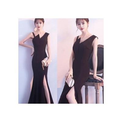 ロングドレス  マーメイドライン ジグザグアシンメトリーデザイン (ブラック)