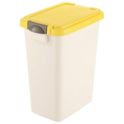 ゴミ箱 リッチェル ダスポット パッキンペール (脱臭カバー付き) 角型 45リットル ホワイトイエロー 35104