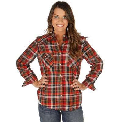レディース 衣類 トップス Wrangler Apparel Womens Sherpa Lined Flannel M Red ブラウス&シャツ