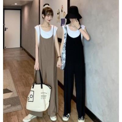 オールインワン 韓国 ファッション レディース ワイドパンツ ゆったり ルーズ カジュアル シンプル 大人可愛い