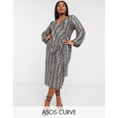 エイソス レディース ワンピース トップス ASOS DESIGN Curve long sleeve sparkle wrap midi dress Black gold