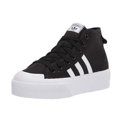 adidas Originals Women's Nizza Platform Mid Sneaker, Black/White/White,7.5 M US