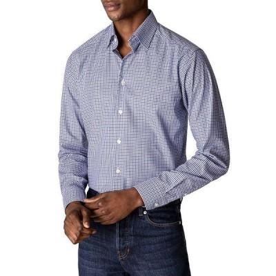 エトン メンズ シャツ トップス Tattersall Check Contemporary Fit Button Down Shirt