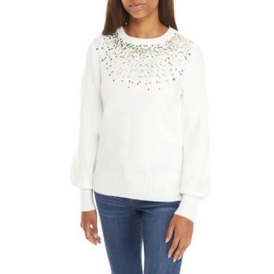 クラウン&アイビー レディース ニット・セーター アウター Women's Long Sleeve Jewel Neck Sweater