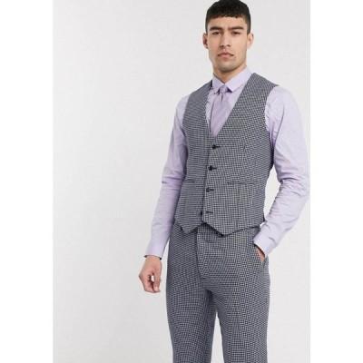 エイソス ASOS DESIGN メンズ ベスト・ジレ トップス wedding skinny suit waistcoat in blue and grey wool blend microcheck ブルー