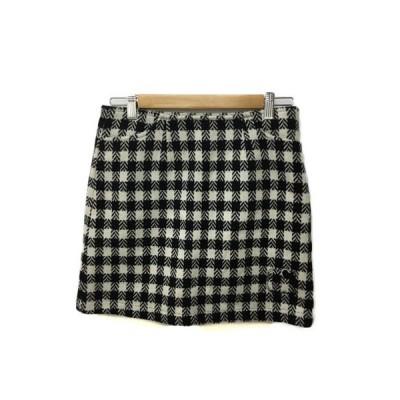 【中古】Riahn avoir golf スカート 台形 ミニ インナーパンツ付き ゴルフウェア 総柄 ウール 36 白 黒 ホワイト ブラック レディース 【ベクトル 古着】