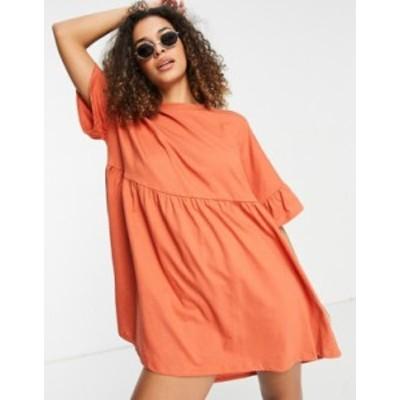 エイソス レディース ワンピース トップス ASOS DESIGN super oversized ruffle sleeve smock dress in butterscotch Butterscotch