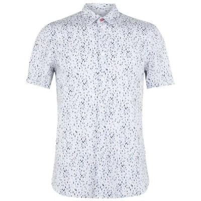 ポールスミス PS PAUL SMITH メンズ 半袖シャツ トップス Paint Spot Short Sleeve Shirt White