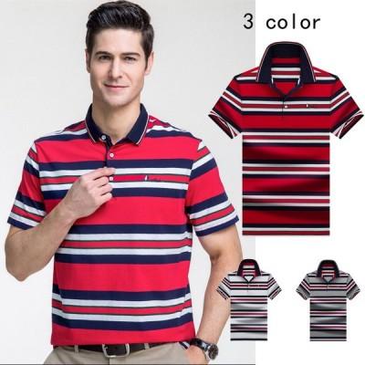 ポロシャツ メンズ 半袖 吸汗 速乾 ドライポロシャツ  100%コットン ストライプ柄 Tシャツ カジュアル 夏