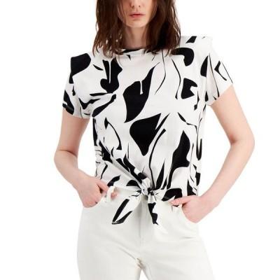 アイエヌシーインターナショナルコンセプト レディース シャツ トップス INC Cotton Printed Tie-Front Shoulder Pad Top