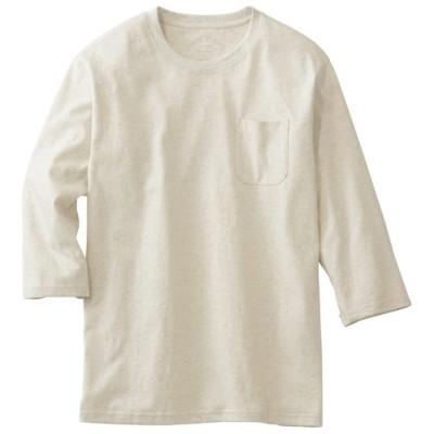オーガニックコットン100%素材のクルーネックTシャツ(7分袖)/オートミール/S