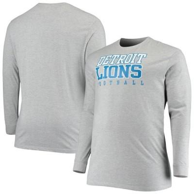 デトロイト・ライオンズ Fanatics Branded Big & Tall Practice Long Sleeve T-シャツ - Heathered Gray