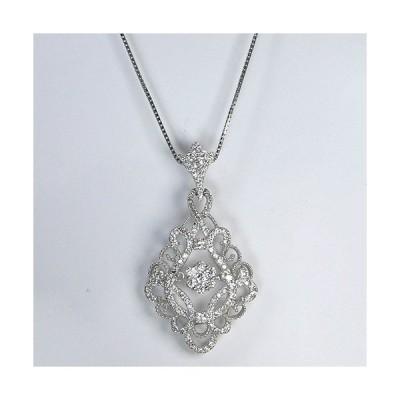 ネックレス レディース 人気 揺れる ダイヤモンド 120石 0.92カラット ペンダント プラチナ ダイヤ アンティーク調